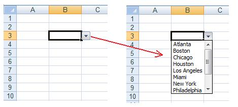 an example of an excel spreadsheet with a cell containing a drop down list creating