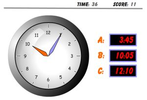 Clock Test Telling Time Game