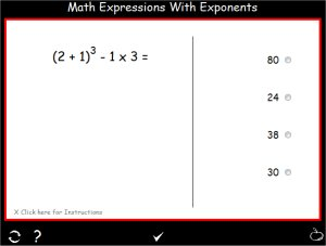 Order of Operations Practice - Exponenets