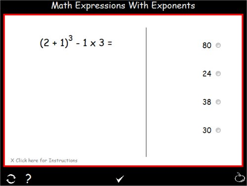 Math Expressions with Exponents – Math Worksheets Order of Operations with Exponents