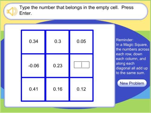 Adding And Subtracting Decimal Game Magic Square