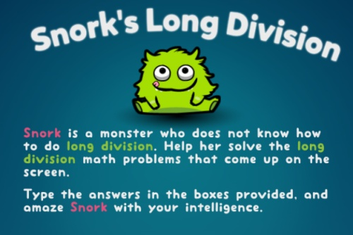 Long Division Game Snorks Step By Step Practice