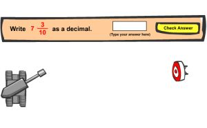Fractions to Decimals Game - Decimal Tank