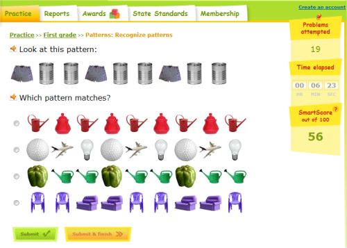 Pattern Game For First Grade Recognize The Pattern