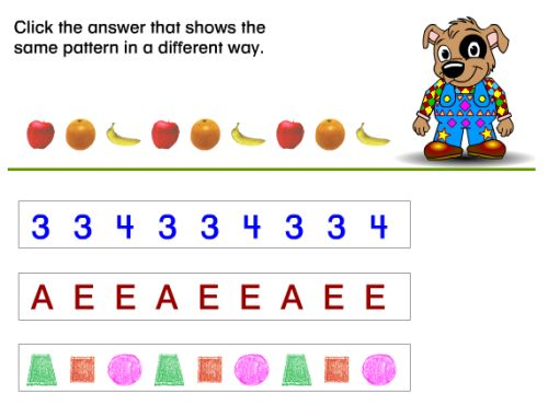 Online Pattern Games and Math Sequences for Kids