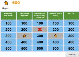 Decimal Game For Grade 5 - Decimal Jeopardy