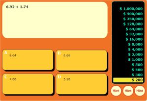 Free interactive addition and subtraction decimal game - rags to riches