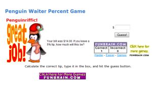 Math Percentage Game for Kids - Penguin Waiter's Tip