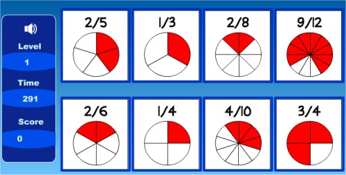 matching fractions beginners easy