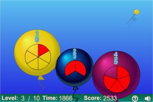 Balloon Pop Fractions Ordering Game