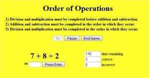 Online Math Order of Operations Games