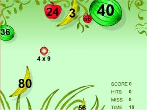 Multiplication Game - Fruit Shoot