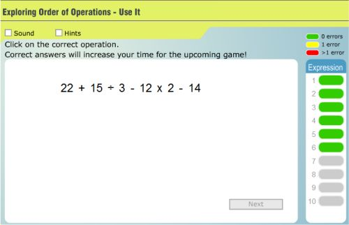 Click The Correct Operation With Exponents Order Of Operations
