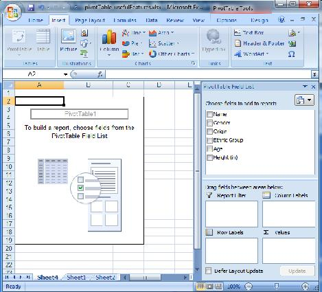 Creating a new pivot table from a simple table of data