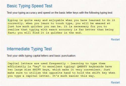 Basic Speed Typing Test & Intermediate