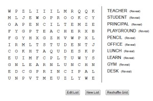 Back to School Word Search for Kids Online Game Grades 2 and 3