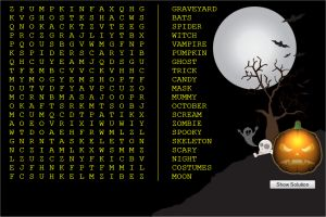 Online Halloween Word Search Puzzle For Kids